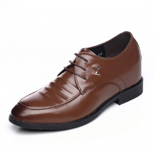 Extra taller business shoes get height 8cm / 3.15inch brown lace up formal shoes