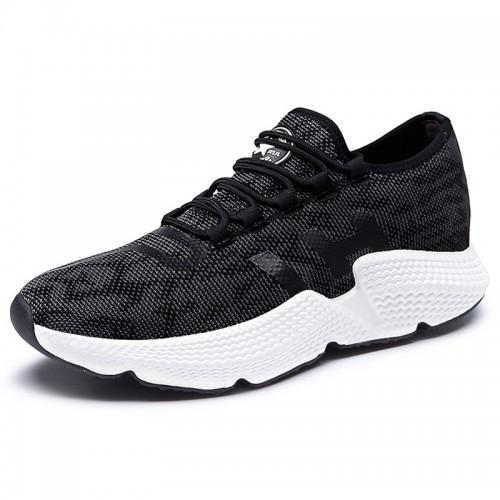 Black Elevator Flyknit Shoes for men Low Top Racer Running Shoe Look Taller 2.4inch / 6cm