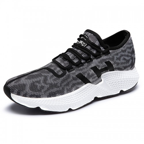Men Increasing Height Flyknit Shoes Grey Low Top Racer Running Shoe Taller 2.4inch / 6cm