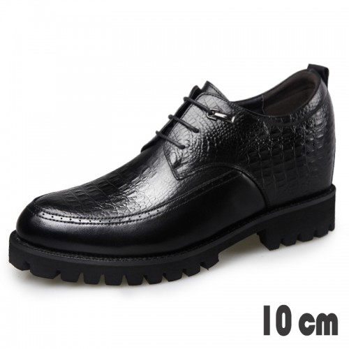 4inch Height Tuxedo Shoes for Men Taller 10cm Crocodile Embossed Calfskin Derbies