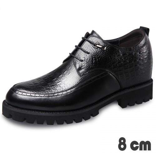Lightweight Taller Tuxedo Shoes for Men  Raise Height 3.2inch / 8cm Crocodile Embossed Calfskin Derbies