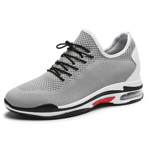 Grey Elevated Racing Shoes Flyknit Fashion Trainers That Make Men Taller 2.8inch / 7cm