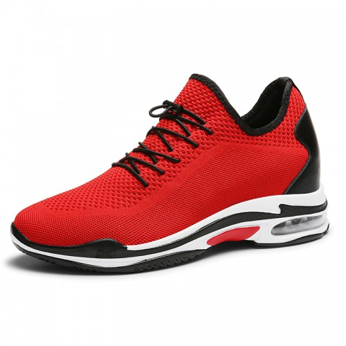 Red Elevator Racing Shoes Flyknit Fashion Trainers Add Your Height 2.8inch / 7cm