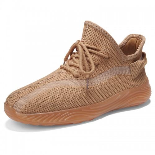 Hidden Lift Slip On Sneakers Khaki Flyknit Breathable Walking Loafers Increase Taller 2.4 inch / 6 cm