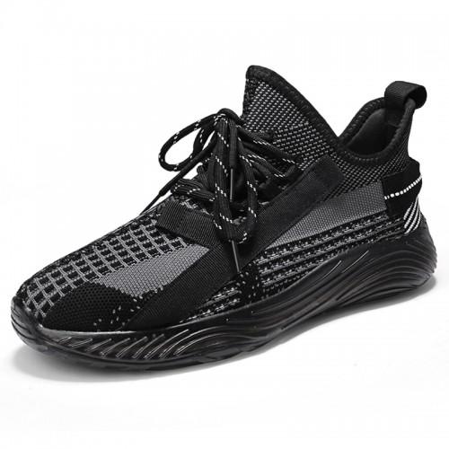 Elevator Slip On Fashion Sneakers Black Low Top Flyknit Men Loafers Add Height 2.4 inch / 6 cm