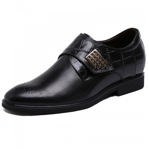 Novelty elevator sharp wedding shoes 6cm / 2.36inch black monk strap brogue dress loafer