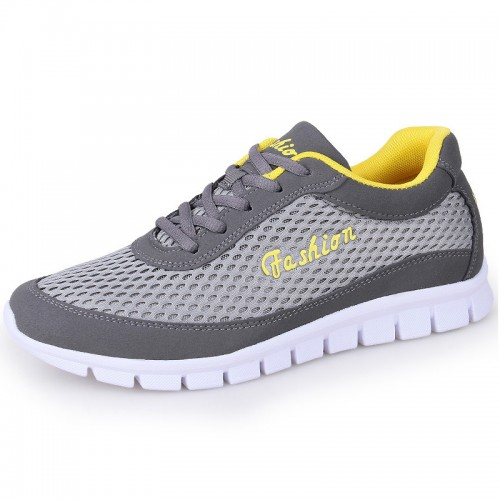 Campus Height Elevator Fashion Sneakers Add Taller 2.4 inch / 6 cm Gray Mesh Running Shoes