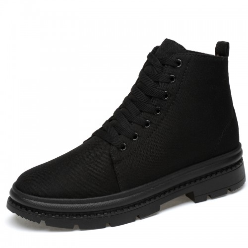 Black Waterpoof Elevator Canvas Shoes for Men Taller 3.2inch / 8cm Street High Top Sneakers