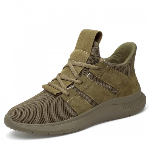 Height Elevtor Trail Shoes for Youth Increase 2.8inch / 7cm Khaki Hidden Lifts Sneakers