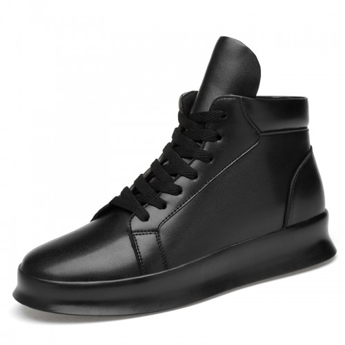 High Top Elevator Leather Sneakers for Men Tall 3.2inch / 8cm British Designer Skateboarding Shoes