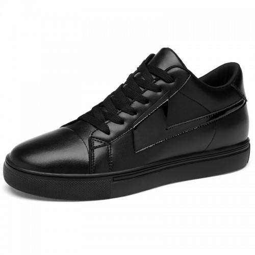 Low Top Elevator Leather Sneakers for Men Increase Height 3.2inch / 8cm Black Lift Board Shoes