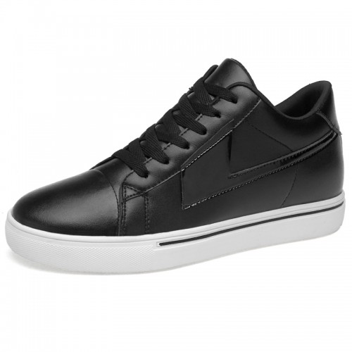 Low Top Elevated Leather Sneakers for Men Get Tall 3.2inch / 8cm Black-White Lift Board Shoes