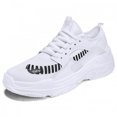 Height Increasing Casual Gym Shoes for Men Get Taller 2.8inch / 7cm  White Elevator Running Shoes
