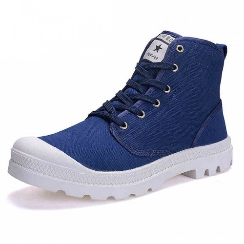 Elevated Canvas Casual Sneakers 3.5inch / 9cm High Top Height Increasing Denim Sneakers