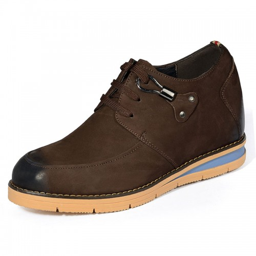 Brown height increasing nubuck leather shoes get taller 8cm / 3.15inches British casual shoe
