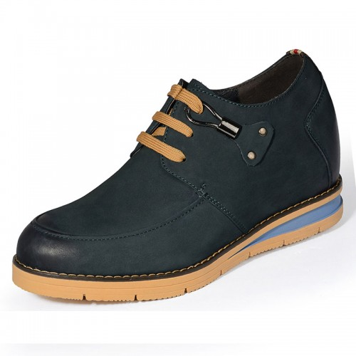 Dark blue elevator nubuck leather shoes add height 8cm / 3.15inches British casual shoe