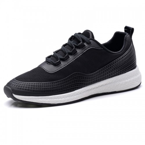 Fashionable Elevator Casual Sneakers Height 2.6inch / 6.5cm Black Heel Lifts Walking Shoes