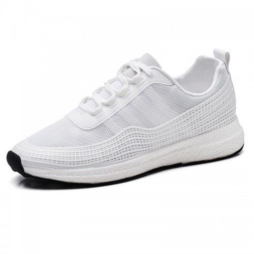 Fashionable Elevator Casual Sneakers Altitude 2.6inch / 6.5cm White Heel Lifts Walking Shoes