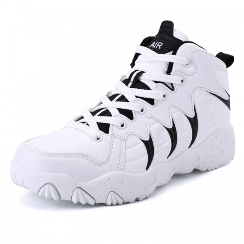 White-Black Elevator Basketball Shoes for Men Add Taller