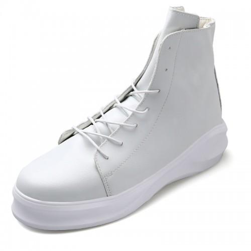 White Hidden Heel Elevator Ankle Boots for Men