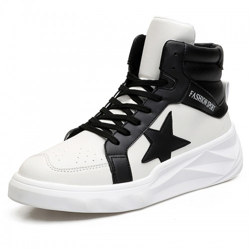 Height Increasing Fashion Sneaker for Men 3.2inch / 8cm black-white High Top Taller Walking Shoes