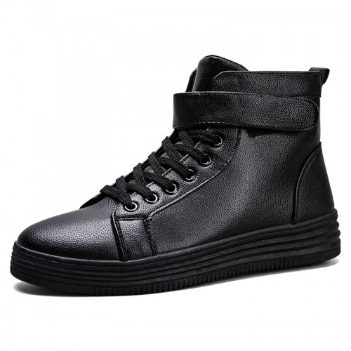 Black High Top Elevator Fashion Sneakers for men taller Velcro Sports Casual Shoes