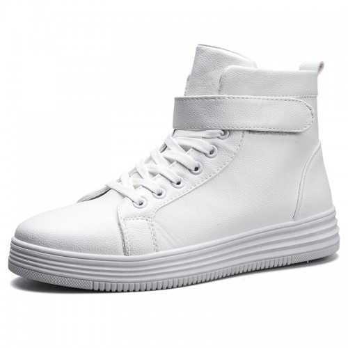 elevator High top fashion sneakers increasing height 2.8inch / 7cm white casual sports shoes