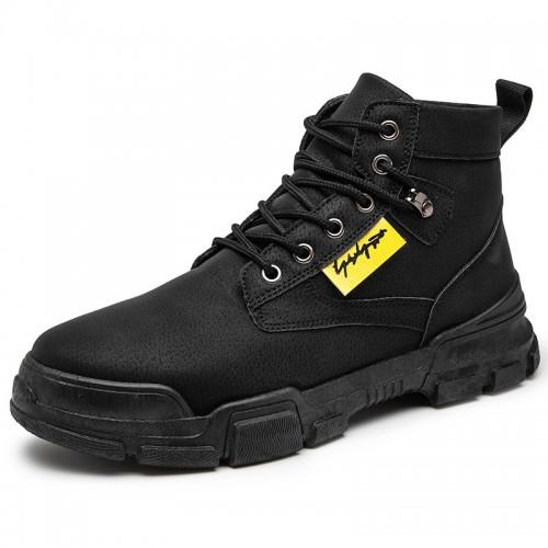 Black Streetwear Elevator Chukka Sneaker Boots Make You Look Taller 3.2 inch / 8 cm
