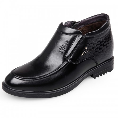 Winter high top elevator dress loafers black woolen formal shoes taller 3inch / 7.5cm