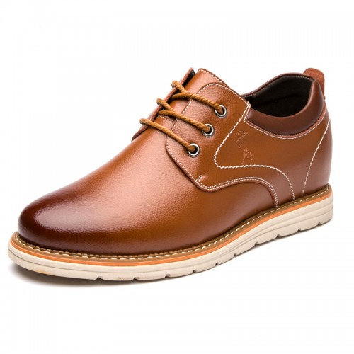 All Match Men Elevator Shoes Brown Height Increasing Business Casual Shoes Taller 3.2inch / 8cm