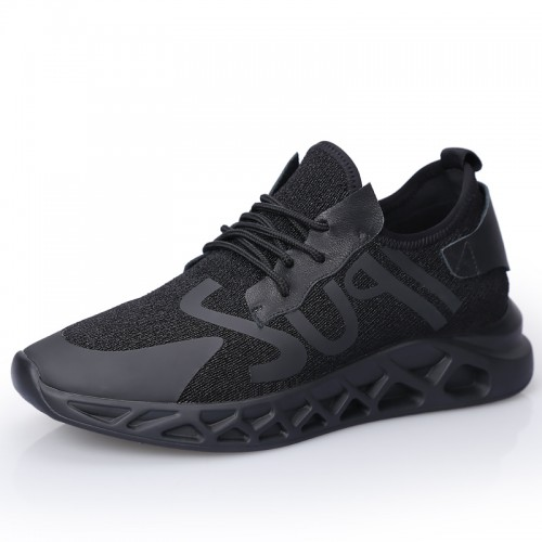 black Steel Toe Elevator Shoes for Men Taller 2.4inch / 6cm Mesh Heighted Sneakers Breathable Runner Shoes