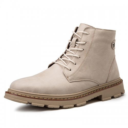 Height Elevator Ankle Boots Add Taller 3.4inch / 8.5cm British Trendy Camel Leather Martin Boots