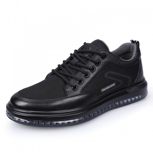 Black Mesh Lift Sneaker for Men Increase Height 2.8inch / 7cm Lace Up Taller Walking Shoes