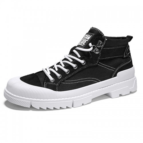Modern Street Style Elevator Canvas Sneakers for Men Taller 2.8inch / 7cm Black Dunk High Non-Slip Walking Shoes