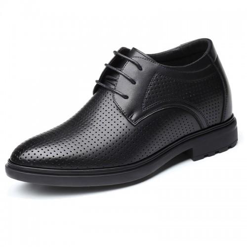 Black Hollow Out Elevator Oxfords Men Sandals Dress Shoes Add Taller 3.2inch / 8cm