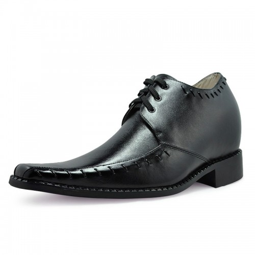 New design mens leather dress style height increasing elevator shoes make you taller 8cm / 3.15inches