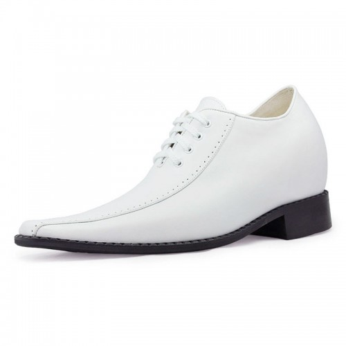 White classic European dress style mens height increasing elevator shoes 8cm / 3.15inches taller shoes