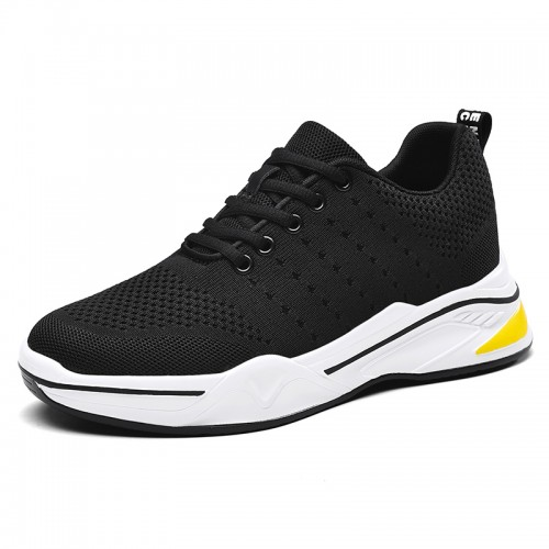 Black Trendy Flyknit Men Elevator Shoes Increase 2.8inch / 7cm Platform Skateboarding Shoes