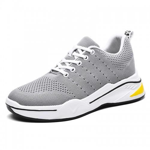 Trendy Flyknit Elevator Men Shoes Get Taller 2.8inch / 7cm Grey Platform Skateboarding Shoes