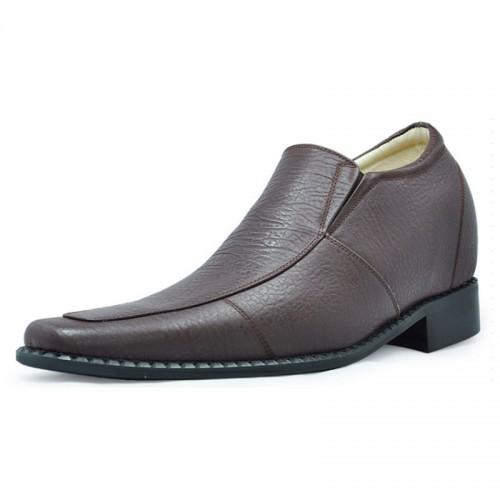 Brown men elevator dress shoes get taller 8cm / 3.15inches