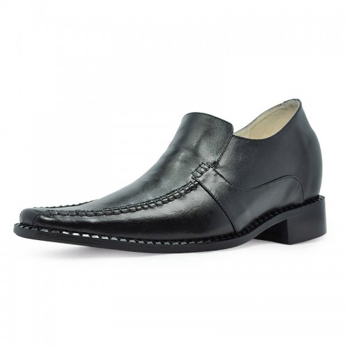 Black Tapered Toe Rubber Cowhide Height increasing dress shoes grow taller 8cm / 3.15inches