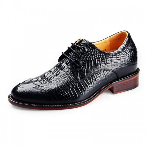 Black Crocodile elevator bridegroom wedding shoe 6.5cm / 2.56inch height formal oxfords