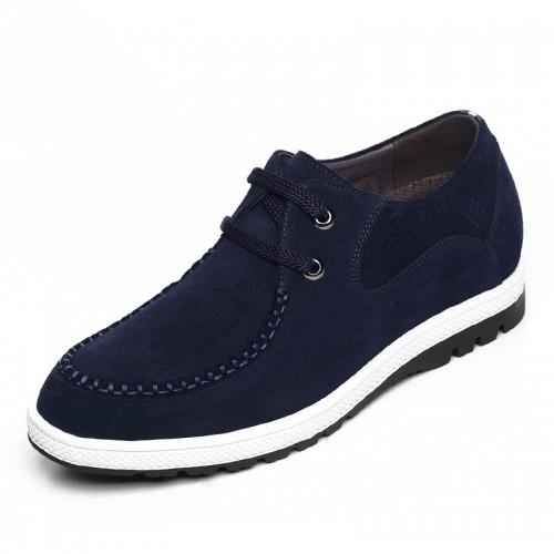 Blue suede elevator casual shoes 6cm / 2.36inch height increase leisure shoe