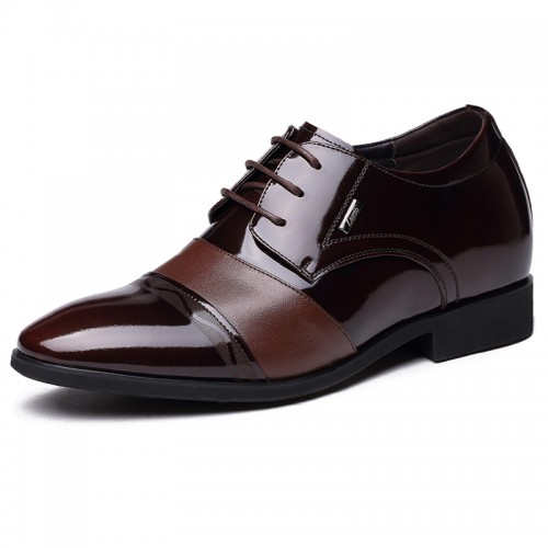 Luxurious groom height increasing wedding shoes 7cm / 2.75inch brown tall formal oxford shoes