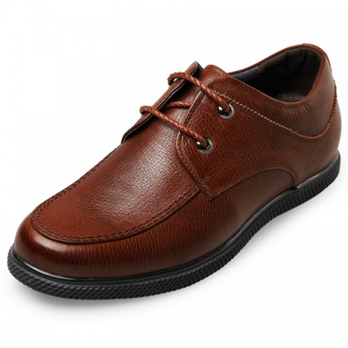 Concise Casual Lift Shoes for Men 2.4inch / 6cm Brown Calfskin Elevator Shoes