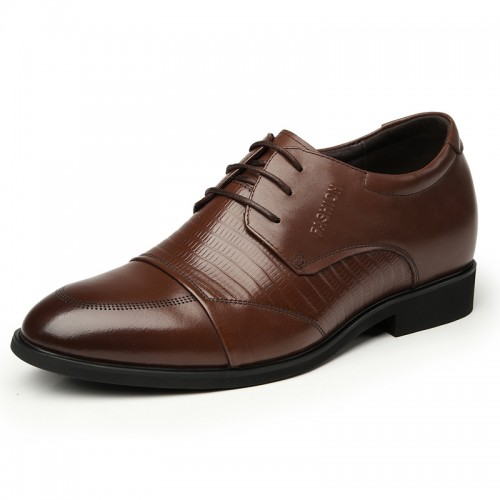 Brown cowhide grain leather height lift shoes 7cm / 2.75inches UK formal elevator shoes