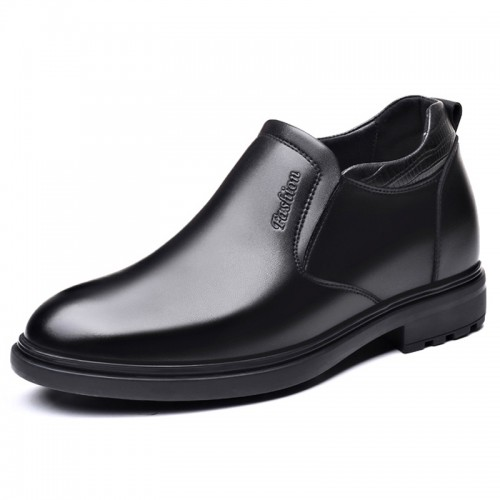 Black Elevator Dress Loafers Slip On Business Formal Shoes Increase Height 3.2inch / 8cm
