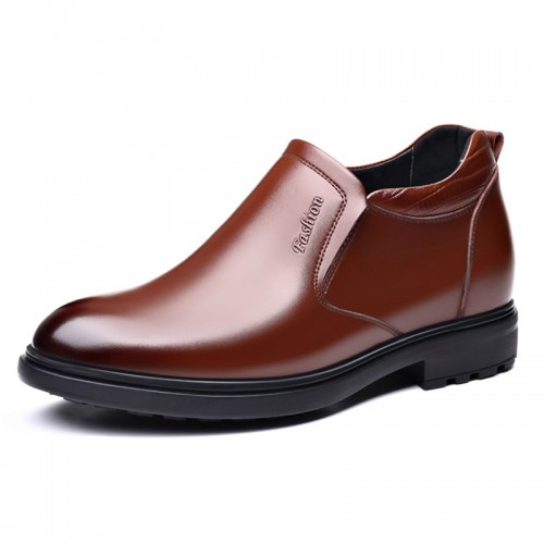 Brown Elevator Dress Loafers Slip On Business Formal Shoes Add Your Taller 3.2 inch / 8 cm