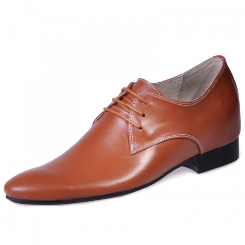 Brown men elevator dress shoes become taller 6cm / 2.36inches