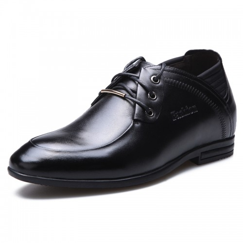 UK business casual increasing height shoes 8cm / 3.15inch black office shoes